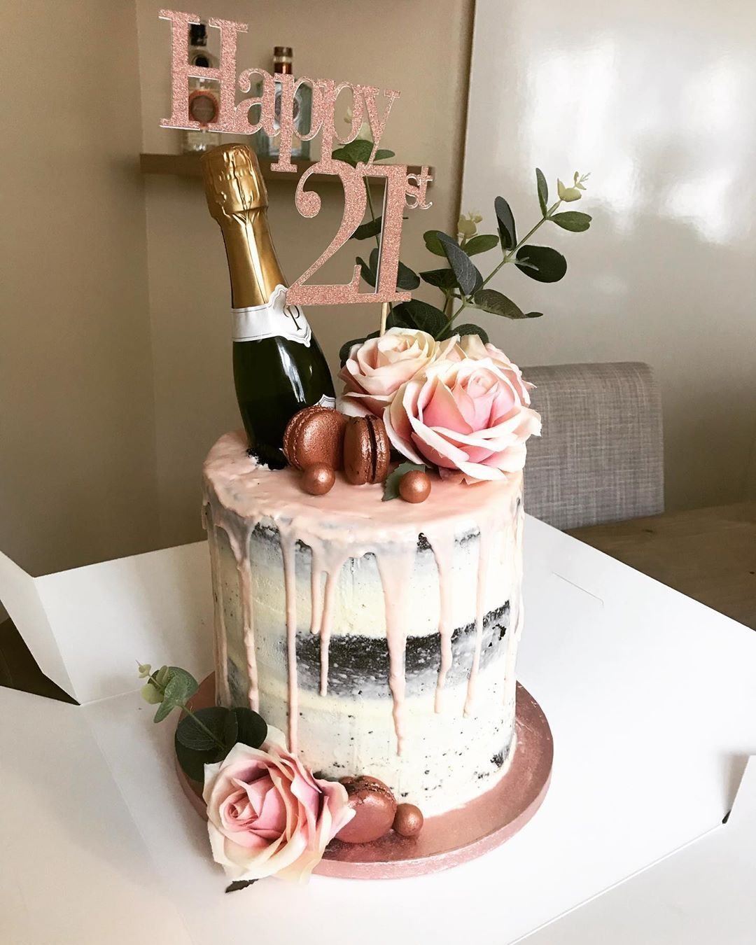 21st Birthday cake being collected later today... chocolate semi naked cake with a white chocolate pink ganache drop... oh and a little bottle of bubbly because you're only 21 once! - zonguldak #21stbirthdaydecorations
