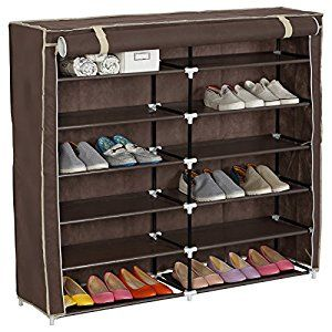 Amazon.com: WOLTU 7 Tiers 2 Rows Portable Shoe Rack With Dustproof Cover  Closet