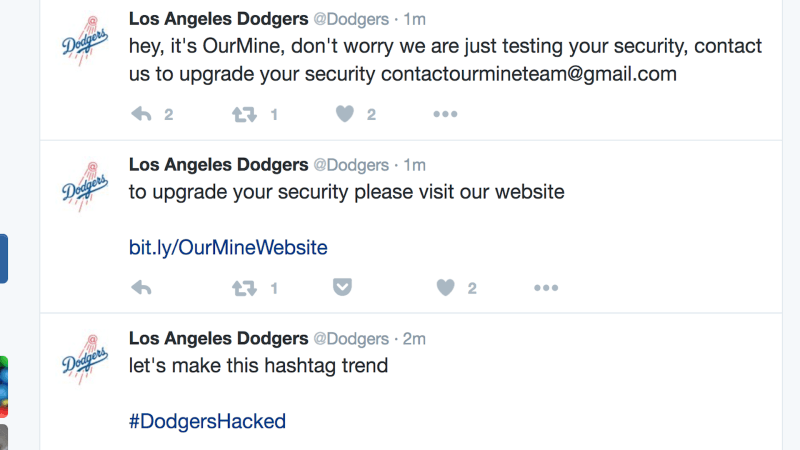 Dodgers' Twitter Account Hacked With Message About Upgrading Your Security