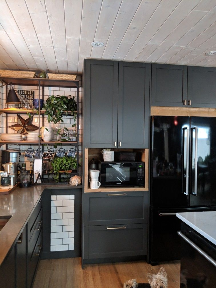 Grey Kitchen Cabinets with Wood  #darkkitchencabinets