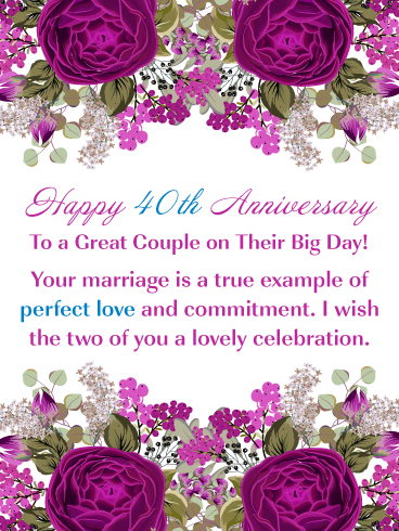 Beautiful Roses Happy 40th Milestone Anniversary Card For Couple Birthday Greeting Cards By Davia Anniversary Cards For Couple Wedding Anniversary Wishes Happy Anniversary Cards