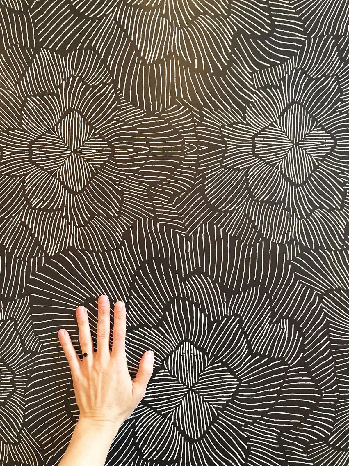 Pinstripe Floral Noir Wallpaper — KATE ZAREMBA COMPANY