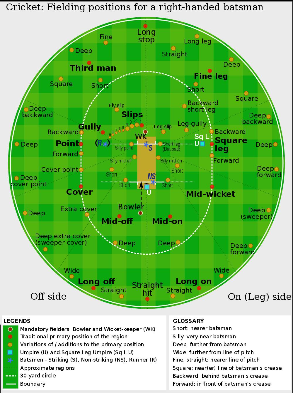 Cricket: Fielding positions for a right-handed batsman
