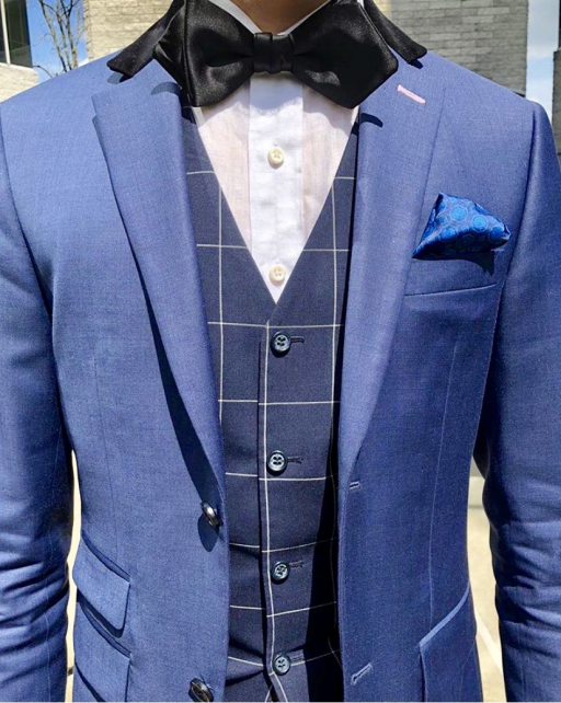 Trying to figure out what to wear on your wedding day?! Well stress no more...our design team specializes in designing and making custom wedding suits and tuxedos for you and the groomsmen in your wedding party. Get this blue wedding three piece suit from Giorgenti New York. #suits #menssuits #mensuits #wedding #groom #groomsmen #tailored #bespoke #sartorial #dapper #menswear #menstyle #mensstyle #mensfashion #tuxedo #mensguides #menwithstyle #giorgentiweddings #mensoutfits #threepiecesuits #thr
