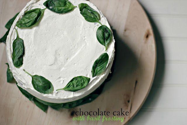chocolate cake with basil buttercream