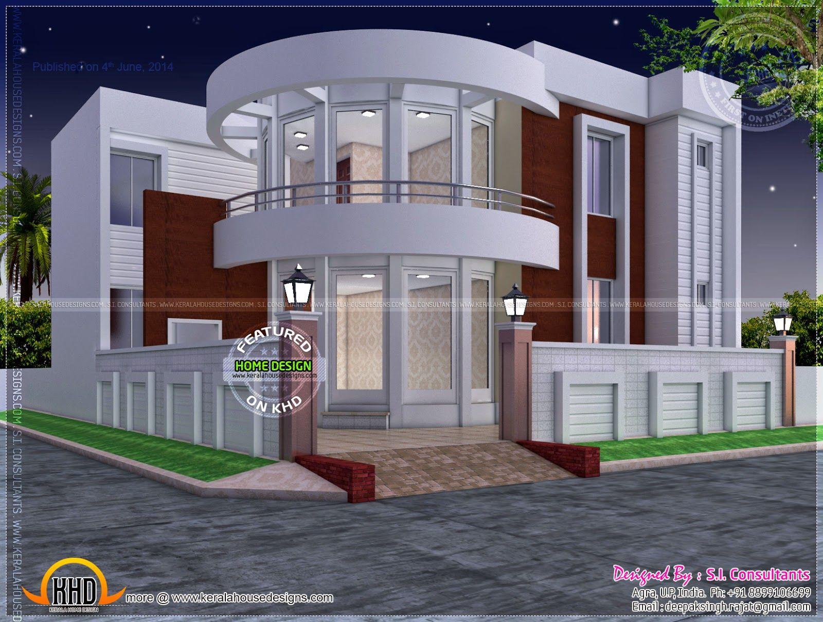 Modern House Plan With Round Design Element Kerala House Design Round House Plans House Plans Mansion