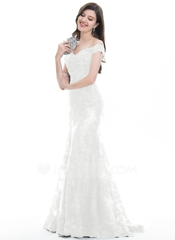 37511f917bd Trumpet Mermaid Off-the-Shoulder Sweep Train Tulle Lace Evening Dress With  Sequins