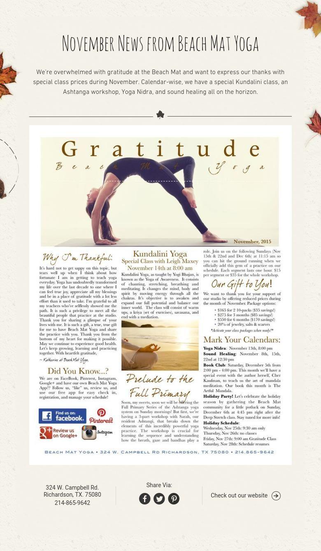 November News from Beach Mat Yoga Beach mat, Yoga, Yoga