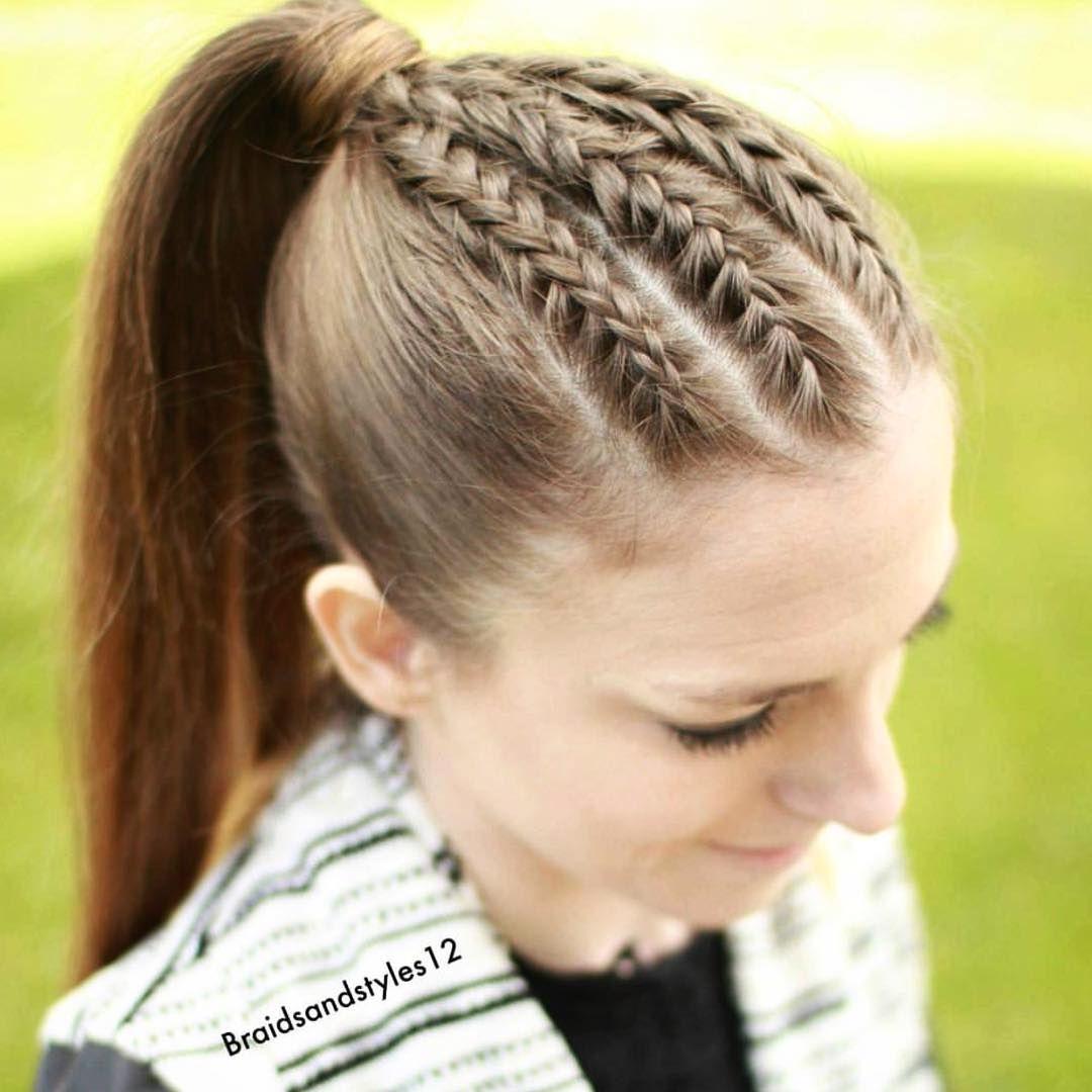 Triple braids into a ponytail Love?? @braidsandstyles12 ...