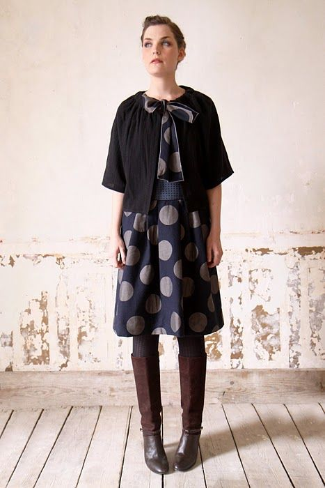 My big dot navy Japanese fabric would be great as a simple dress like this.
