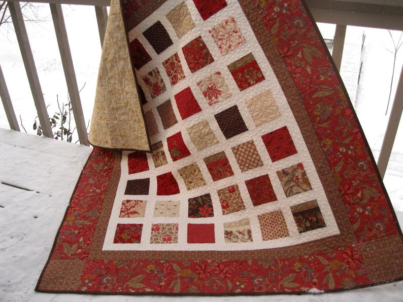 Simply JOSEPHINE 54x60 sofa quilt in vintage red, mocha ...