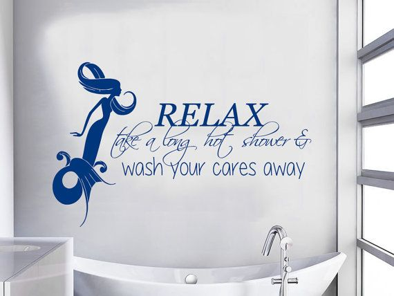mermaid wall decal quote relax take a long hot shower wash your cares away vinyl stikers