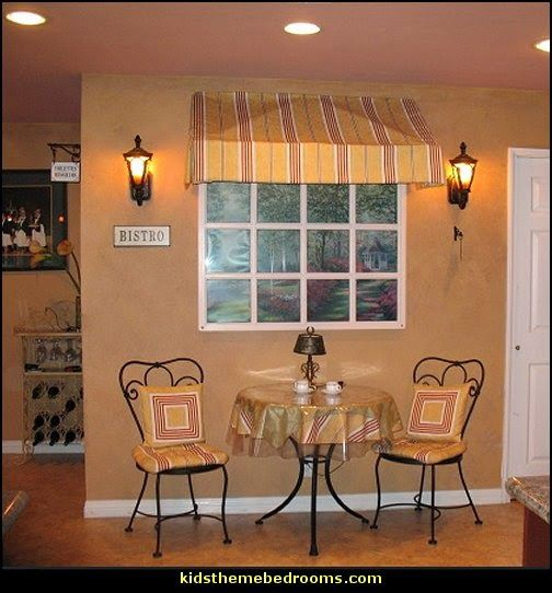 Curtain Cute Interior Home Decorating Ideas With Cafe: Cafe Style Bistro Decorating Ideas-faux Window Decorating