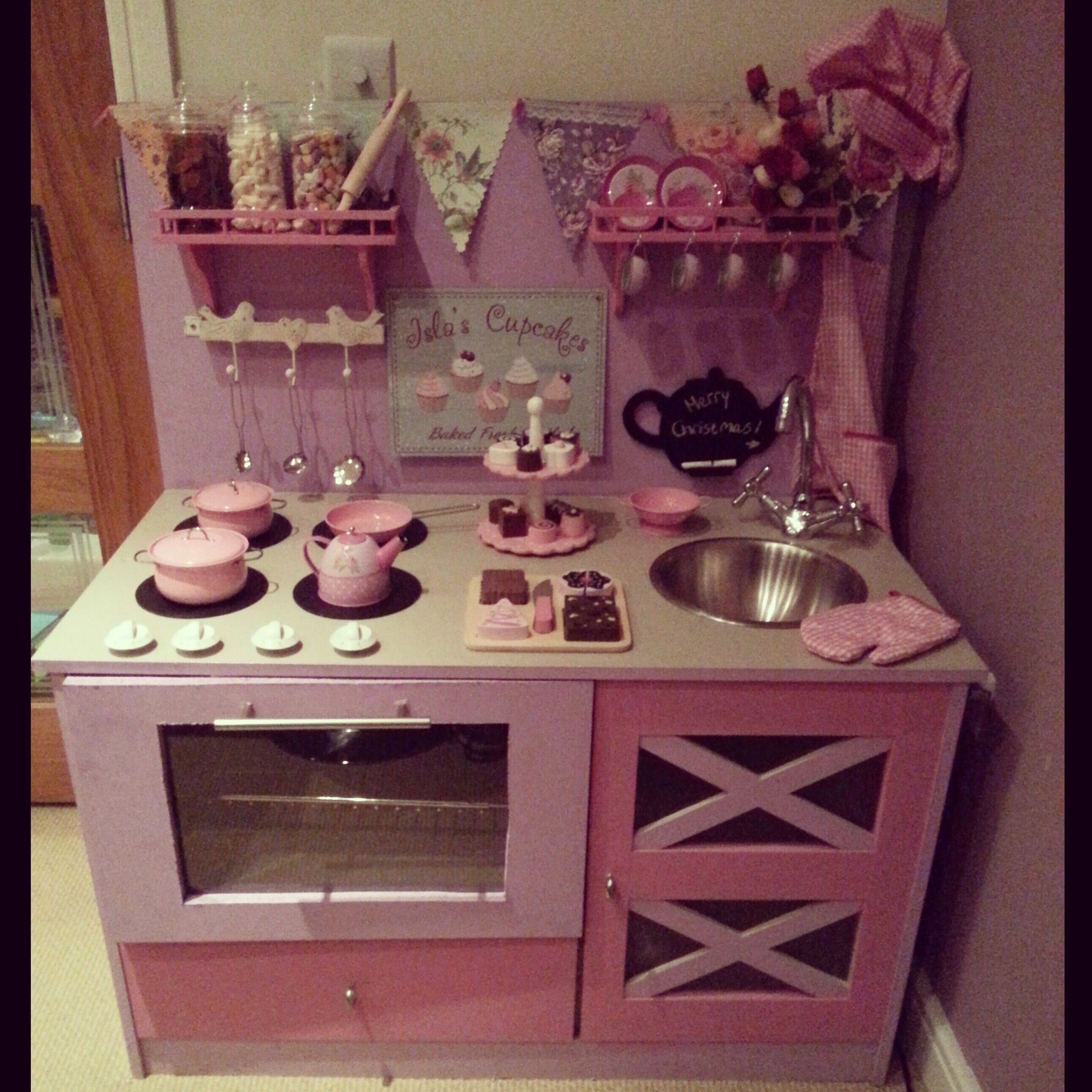 Homemade Play Kitchen Play Kitchen Diy Kitchen Toy Kitchen Girlie Pink Lilac Fun For