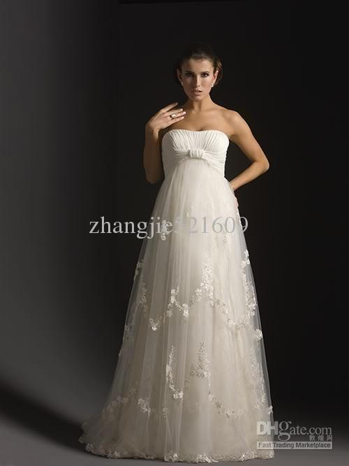 Custom Sexy A-line Floor length organza maternity wedding dress ...