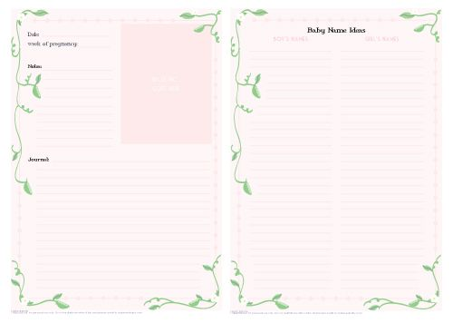 Printable pregnancy journal pages with a pea pod theme for Pregnancy journal template free