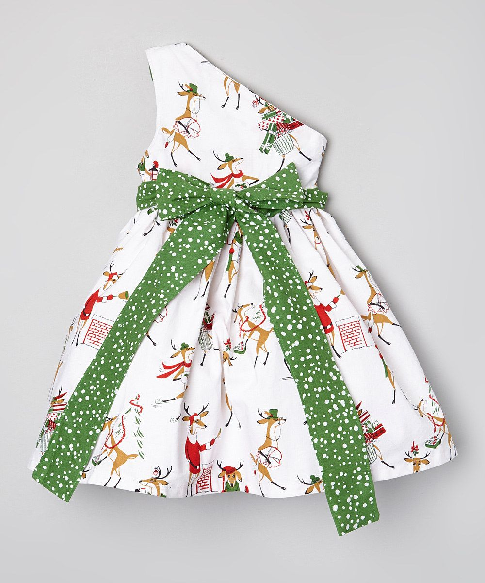 Look at this Prickly Pear Prickly Pear Reindeer Asymmetrical Dress - Toddler