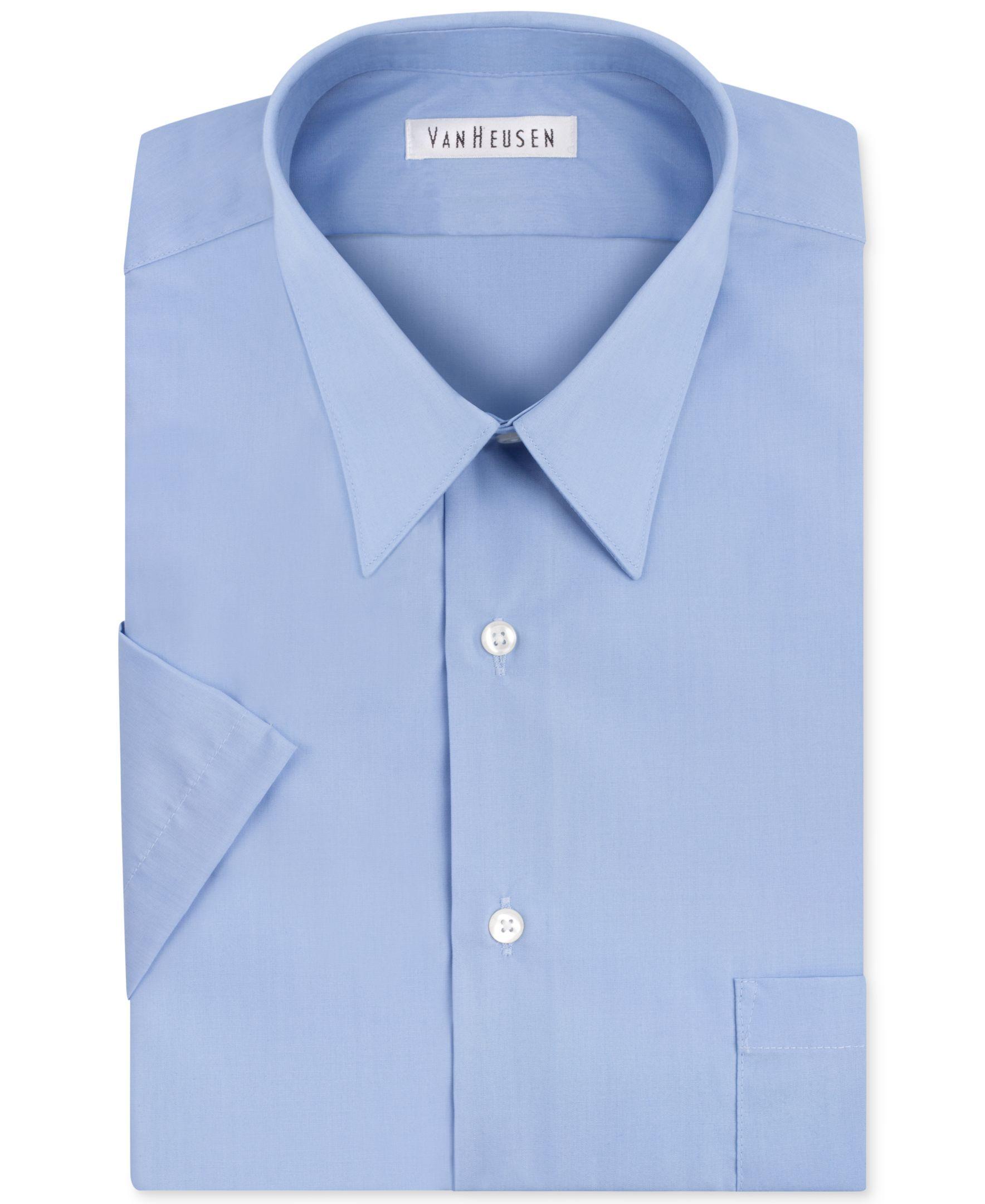 Van heusen poplin solid short sleeve dress shirt dress for Van heusen men s short sleeve dress shirts