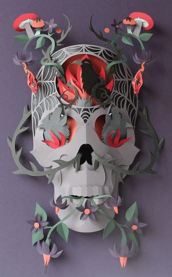 skull paper art