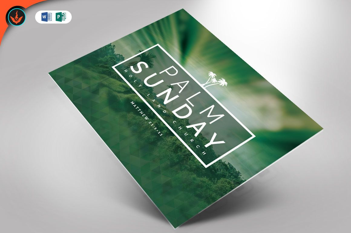 Palm Sunday Church Flyer Publisher And Word Template 6x4 Flyer Flyer Template Business Card Logo
