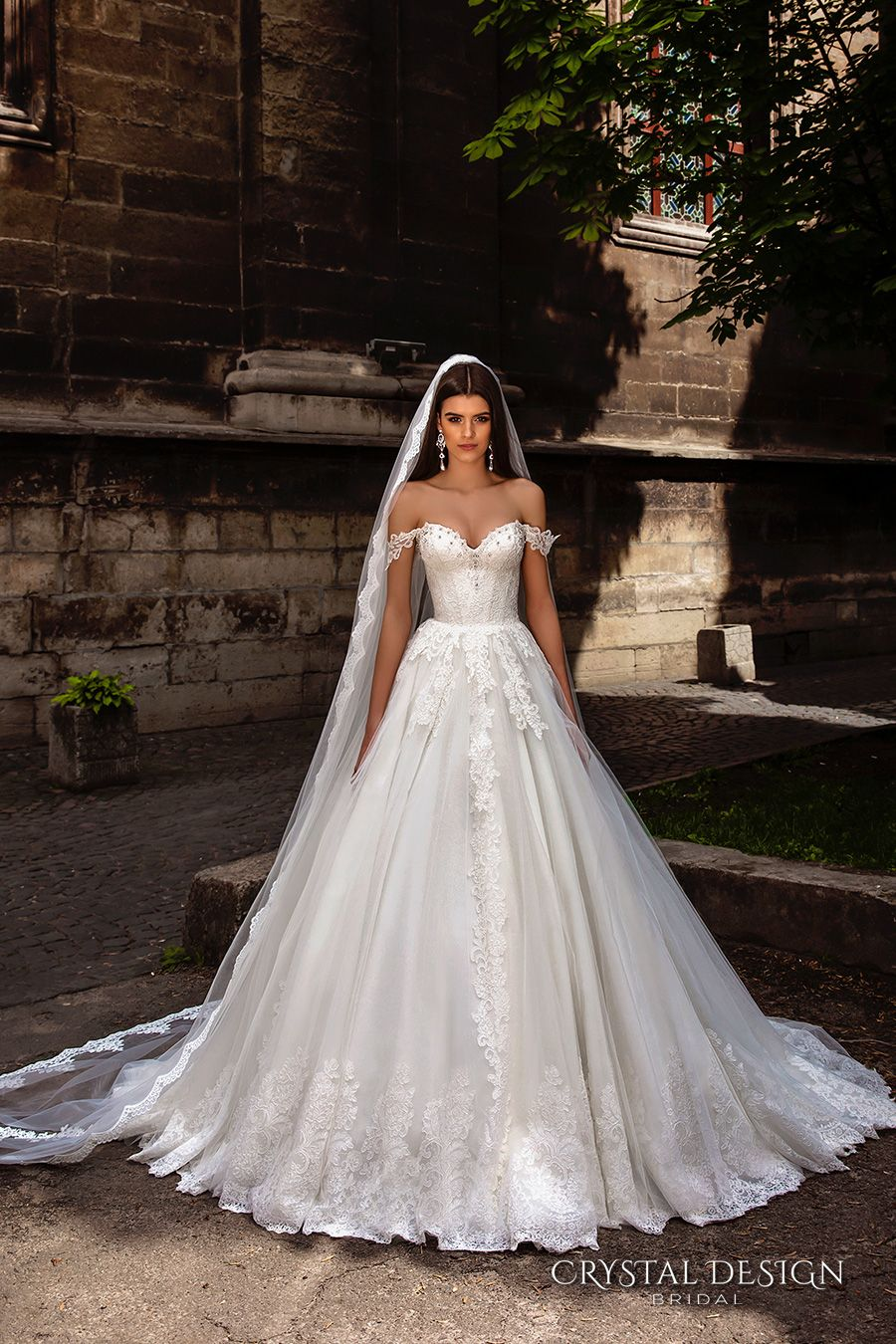 crystal design bridal 2016 off the shoulder sweetheart neckline bustier heavily embellished bodice princess a  line ball gown wedding dress chapel train (verona) mv