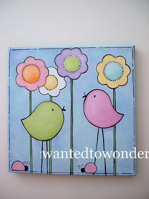 Sencillo Cuadro Infantil De Pájaros Para Pintar Cuadros