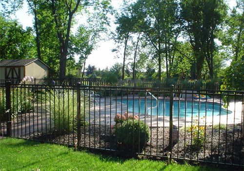 Pool Fence Pool Fencing Choices For Western New York Inground Pool Landscaping Pool Fencing Landscaping Backyard Pool Landscaping