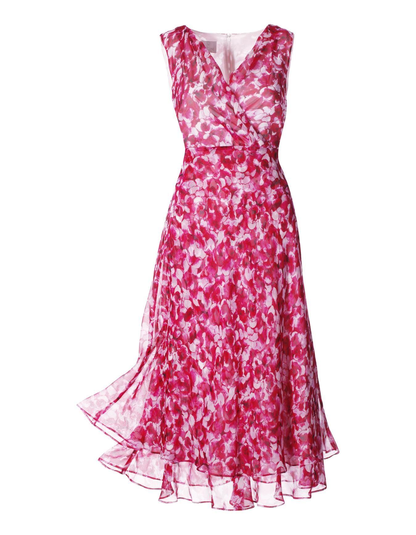 Kleid aus Seide in der Farbe fuchsia / weiß - pink, weiß, rot - im ...