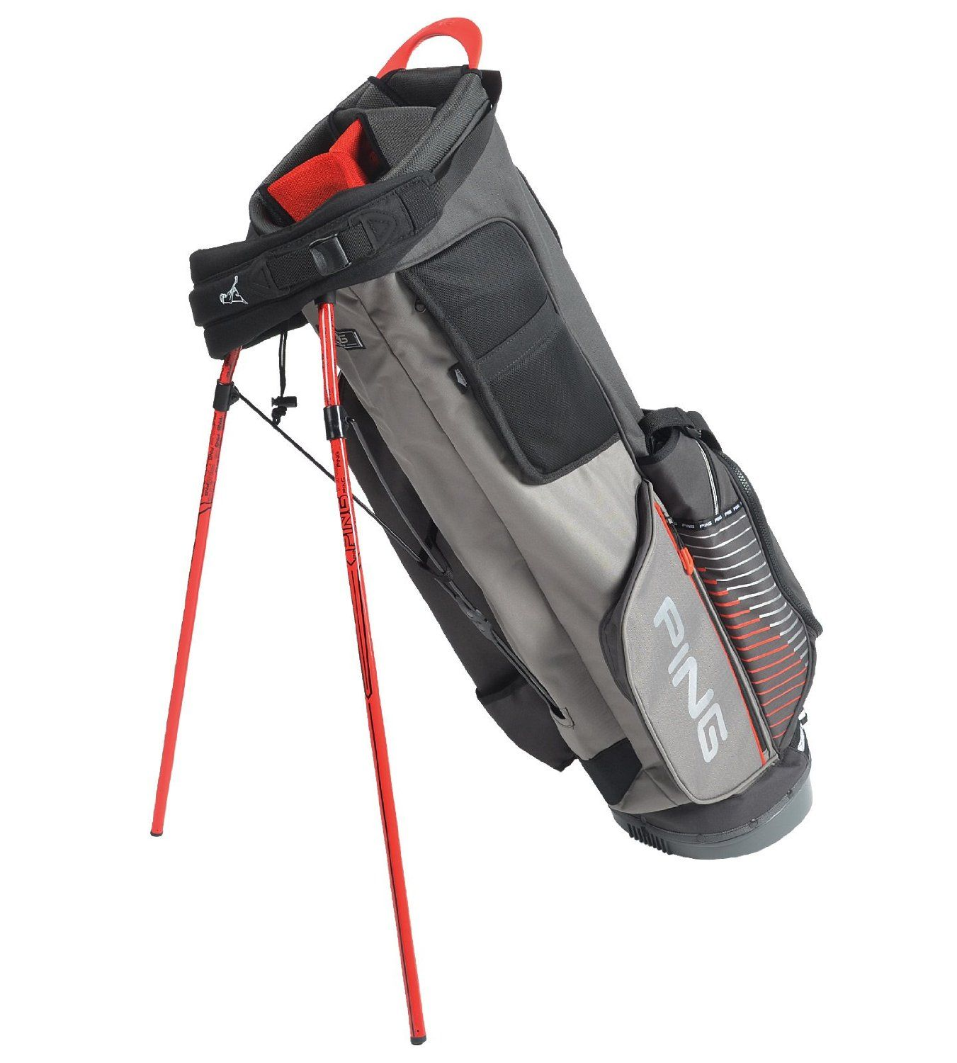 8e8b2c53eb Utilizing easy adjusting sliding shoulder straps these mens 4 series II  golf stand bags by Ping also feature a rain hood and umbrella holder