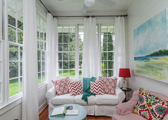House Of Turquoise Jane Coslicks Cottage On The Greenlove All Sunroom CurtainsTall CurtainsSunroom PlayroomSheer Window