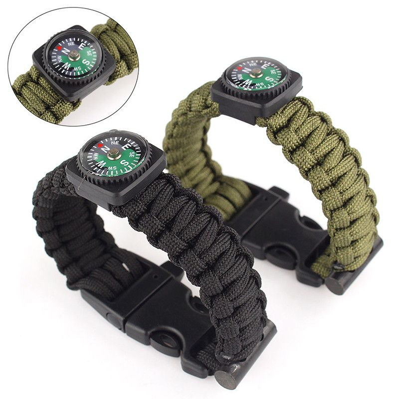 Paracord Survival Bracelet with Compass, Flint Fire Starter, Emergency Whistle and Scraper