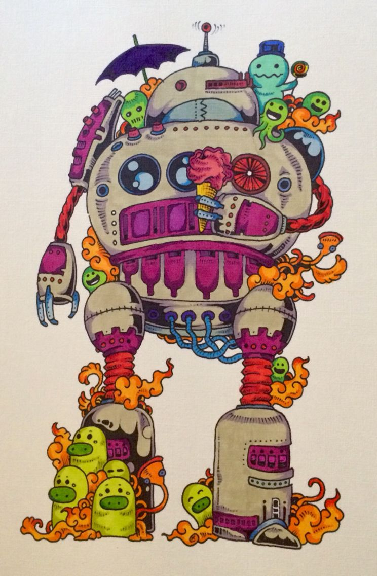 Doodle Invasion Promarkers Love this little robot!