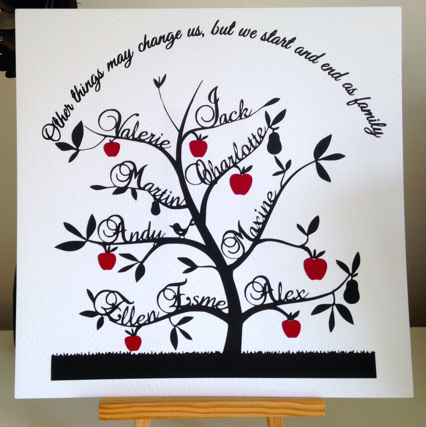 paper cut family tree with 9 names cute saying and red