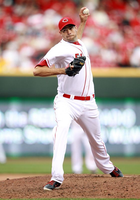 CINCINNATI, OH - APRIL 05: Sean Marshall #51 of the Cincinnati Reds throws a pitch during the game against the Miami Marlins on Opening Day at Great American Ball Park on April 5, 2012 in Cincinnati, Ohio. (Photo by Andy Lyons/Getty Images)