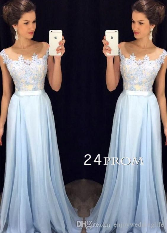 1ace980cd6 2016 Sexy Sheer Cap Sleeves Chiffon Prom Dress Lace Applique Top Floor  Length Party Evening Gown Free Prom Dresses Ghetto Prom Dresses From  Enjoyweddinglife ...