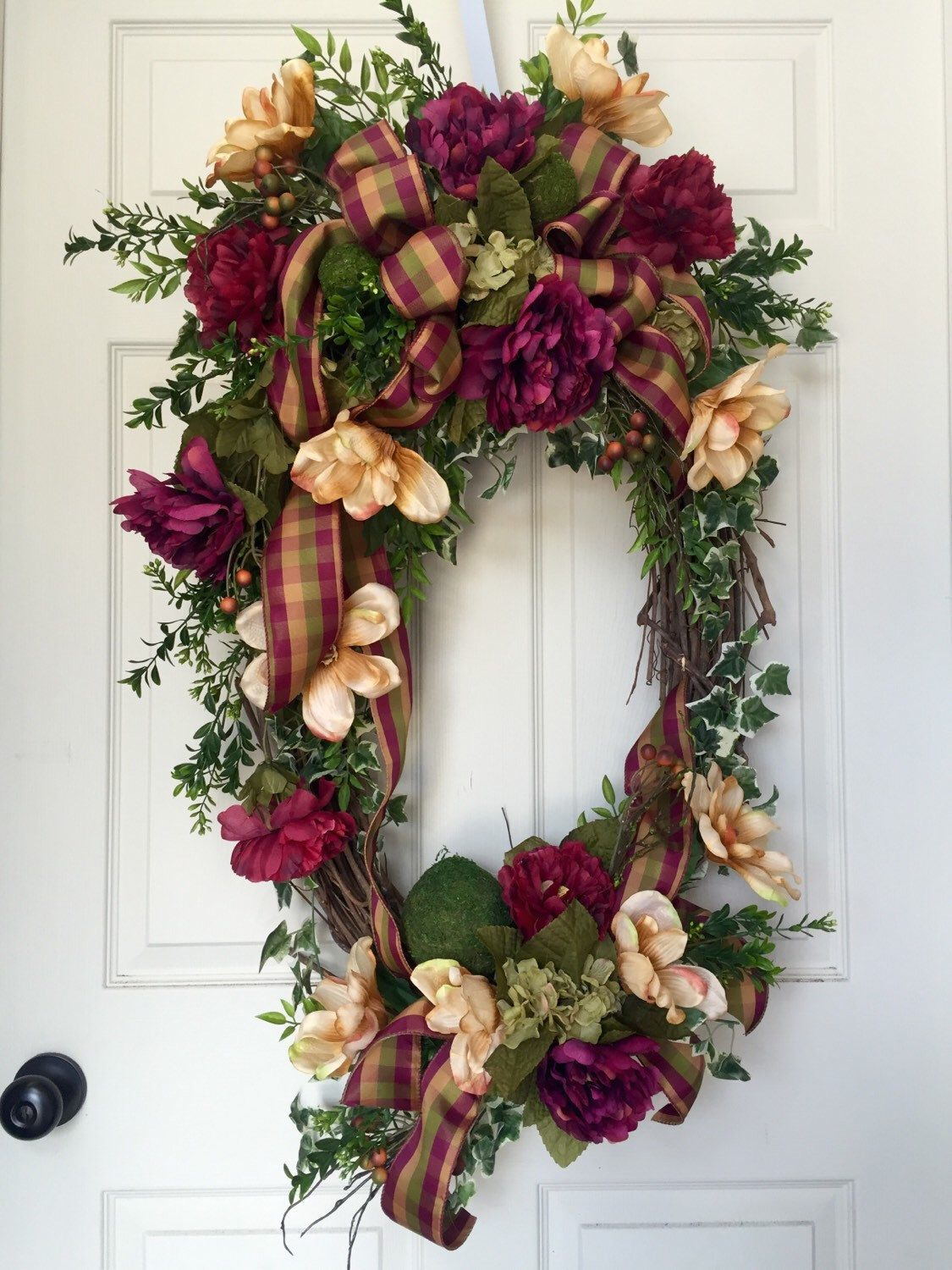 Everyday Mulberry And Beige Oval Grapevine Wreath