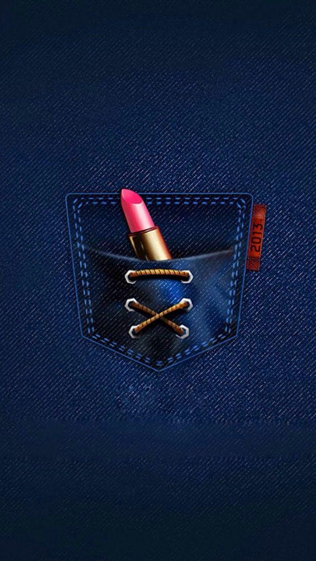 Lipstick In Denim Pocket Wallpaper