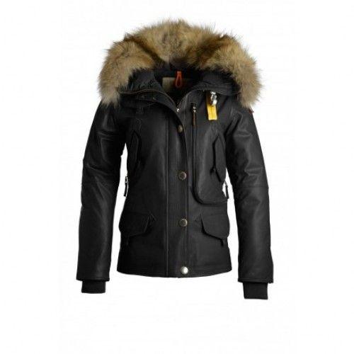 79ca673f ... usa billigt parajumpers jacka parajumpers femme doudoune parajumpers  doris cuir avec col de fourrure noir ebbc9