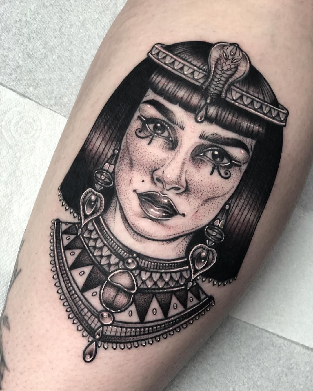 Finished This Cleopatra Today Lines Healed Thanks So Much Sophie Occult Tattoo Cleopatra Tattoo Occult Tattoo Egypt Tattoo