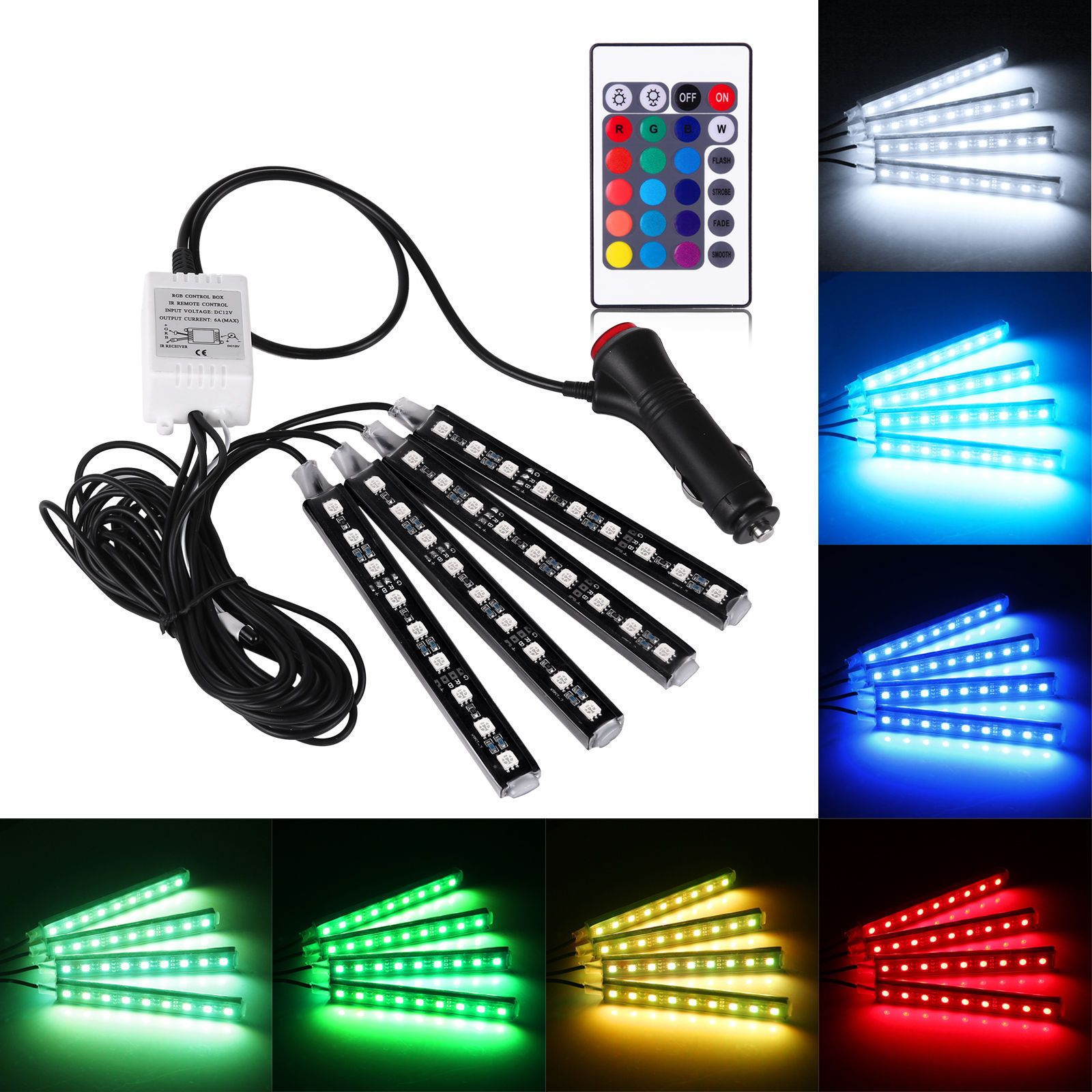 7 89 Remote Control 4x9led Colorful Rgb Car Interior Floor Atmosphere Light Strip Ebay Electronics Rgb Led Strip Lights Strip Lighting Interior Led Lights