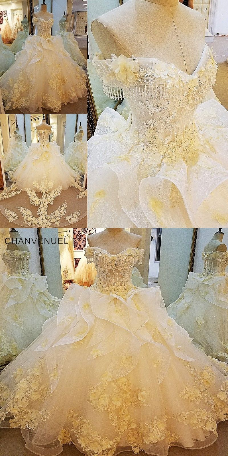 Ls gorgeous champage bridal gown with d flowers short sleeves
