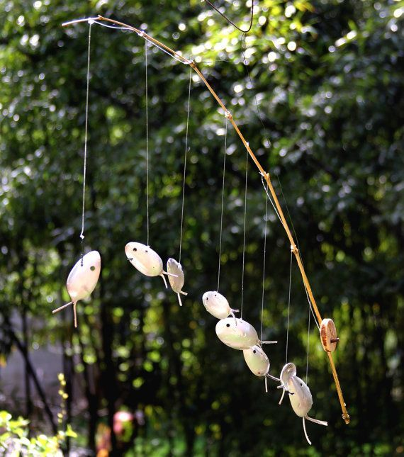 wind chime fishing pole with silverware fish