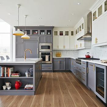 White Top Cabinets Gray Bottom Contemporary Kitchen Rebecca Hay Interior Design