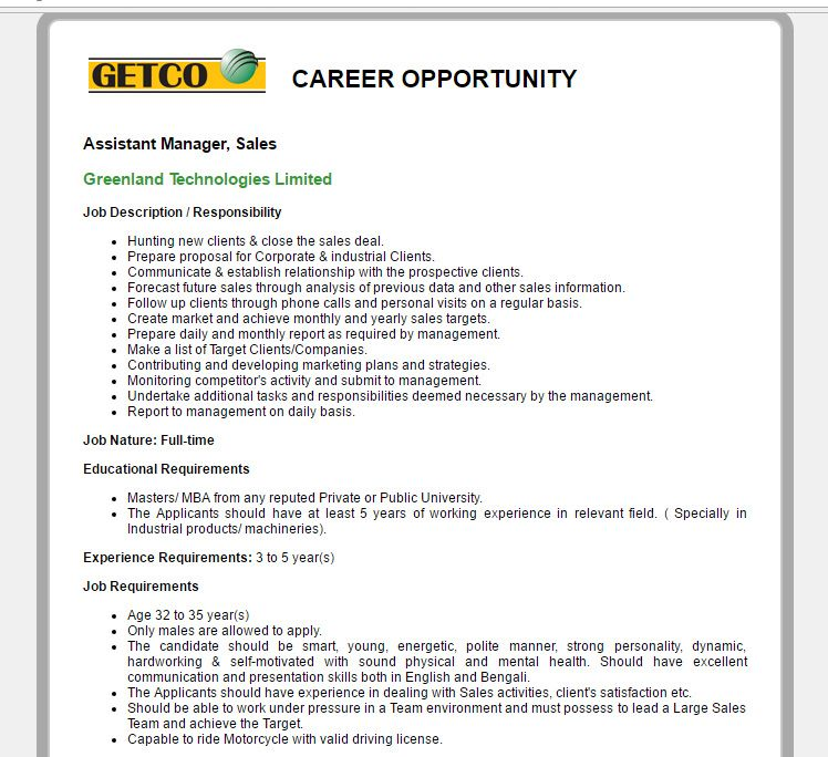 Greenland Technologies Limited  Position Assistant Manager