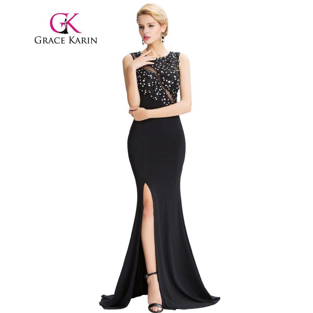 ab23630acc121 Grace Karin Sleeveless Black Mermaid Evening Dresses Floor Length ...