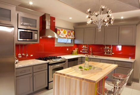 Red And Grey Kitchen Ideas