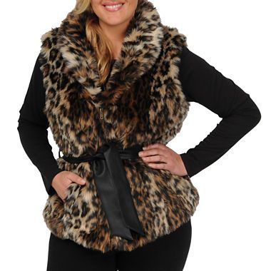 Our faux-fur belted vest will add some glam wild style to your cold-weather look.