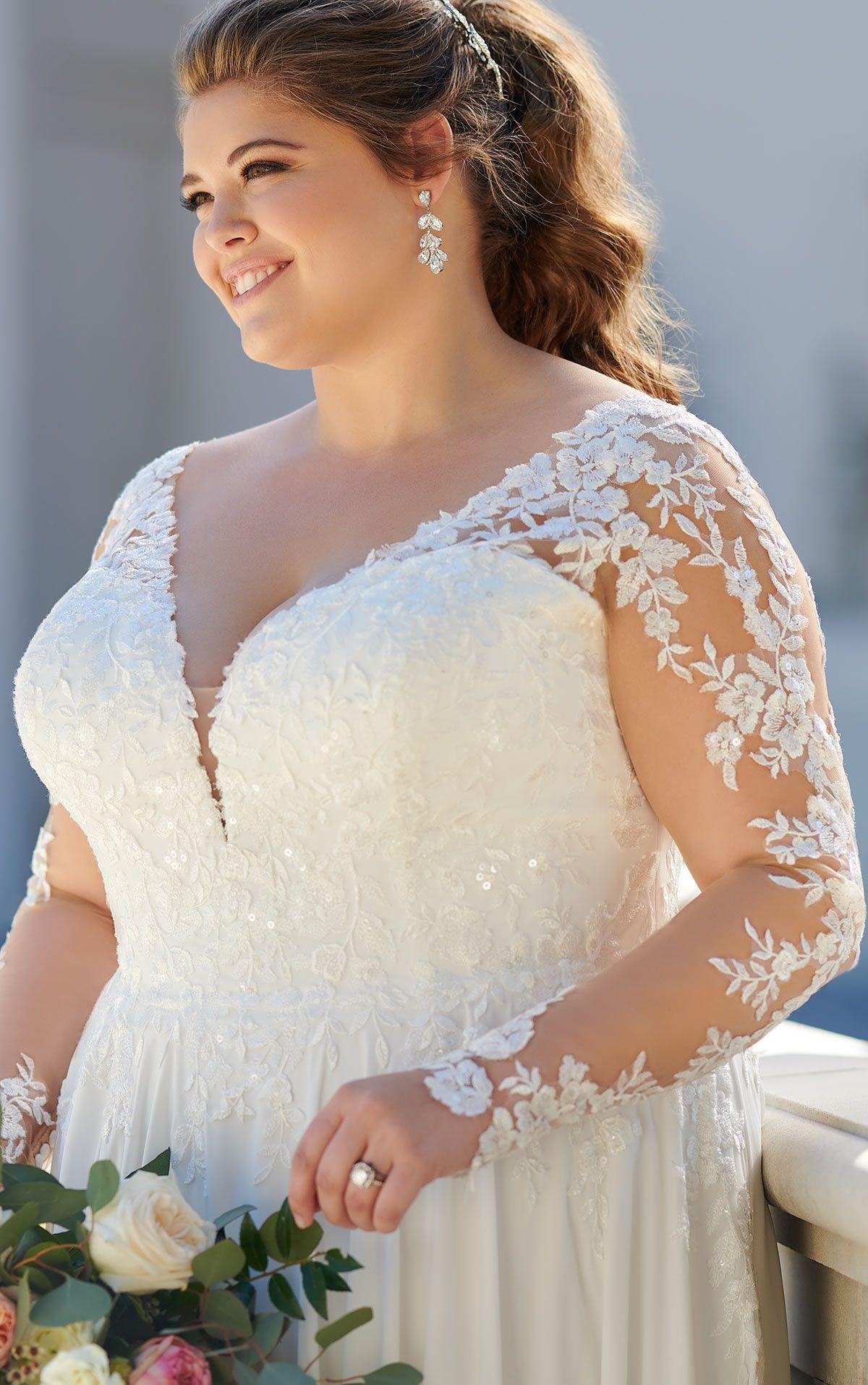 LongSleeved Casual PlusSize Wedding Dress Stella York