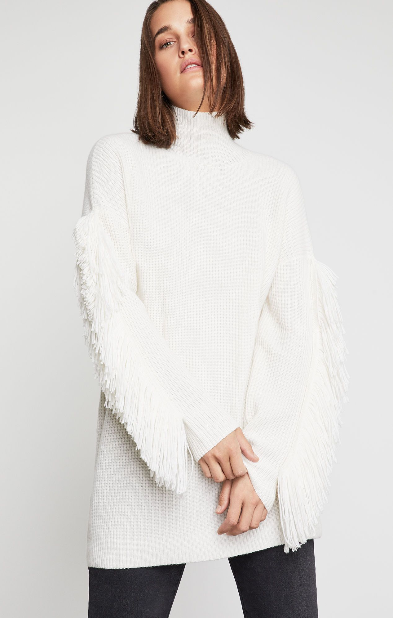 Fringe Turtleneck Tunic Sweater Gardenia |