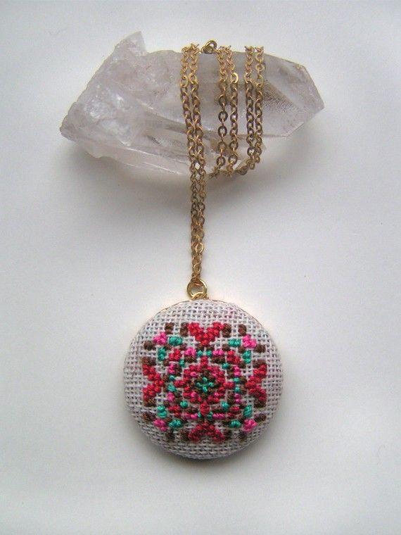 Folk Fractal cross stitched pendant necklace from GammaFolk on Etsy